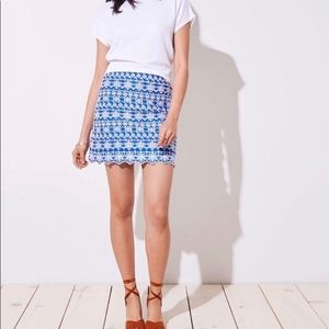 Loft blue and white embroidered skirt